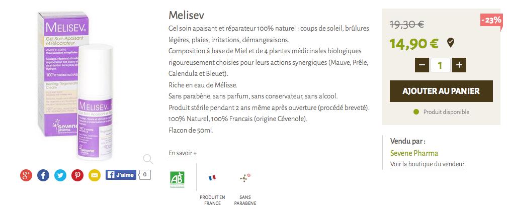 Melisev - sevenpharma - demangeaison et irritations peau